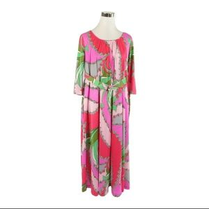 PINK red geometric vintage maxi dress S